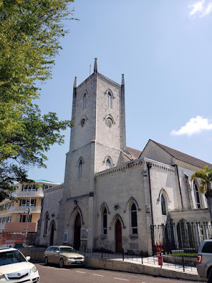 Long shot of church with steeple