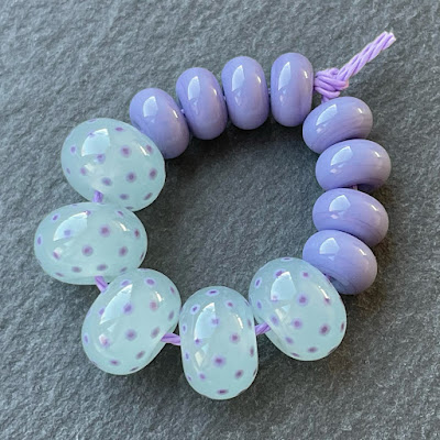 Handmade lampwork glass beads in Creation is Messy Avalon Milky