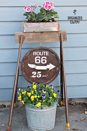 Rusty Cover Sign/Saw Horse Planter