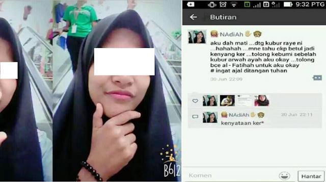 "Innalillah! Wanita Ini Membuat Status Di Facebook ""Aku Dah Mati"" Langsung Menjadi Kenyataan"
