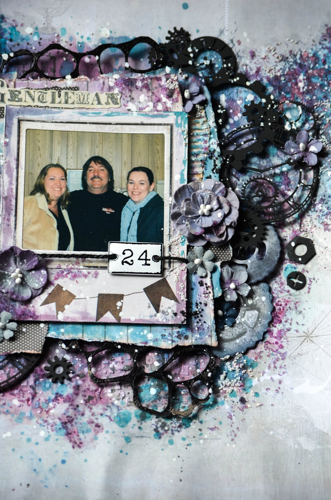 Blue, purple, teal, aqua, and black mixed media scrapbook layout with 49 and Market, Dusty Attic, and Prima