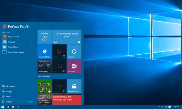 Windows 10 Start Menu & Background