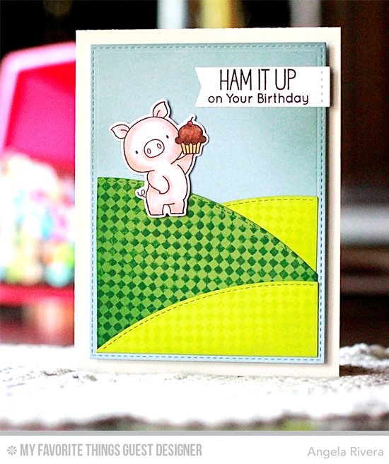 Handmade card from Angela Rivera featuring Birdie Brown Hog Heaven stamp set and Die-namics, Fine Check Background stamp, Stitched Valley, and Blueprints 29 Die-namics #mftstamps