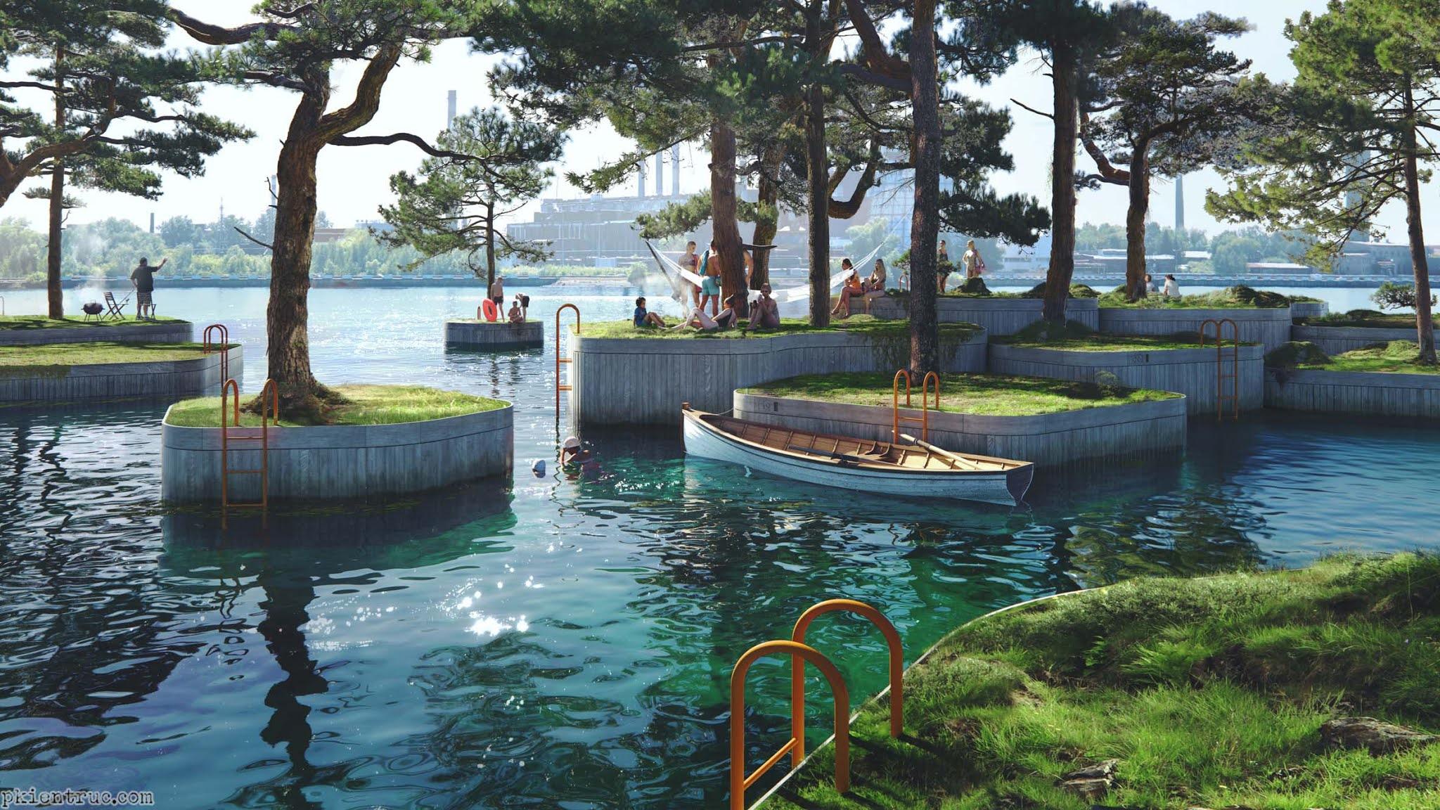 Các đảo nổi trồng cây xanh cổ thụ