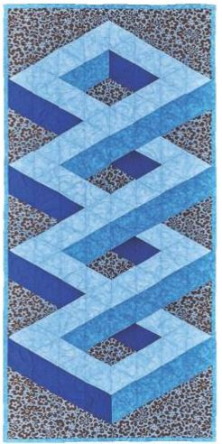 blue 3D knots table runner