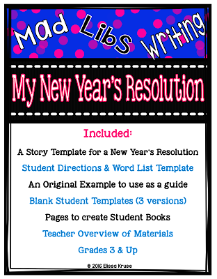 its a mad libs style writing activity for new years resolutions it includes directions templates an example writing paper and more