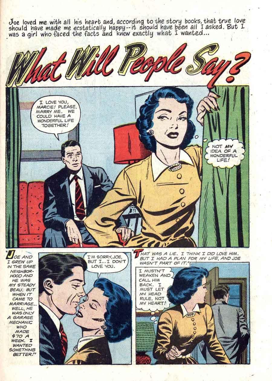 Matt Baker golden age 1950s st john romance comic book page art - True Love Pictorial #9