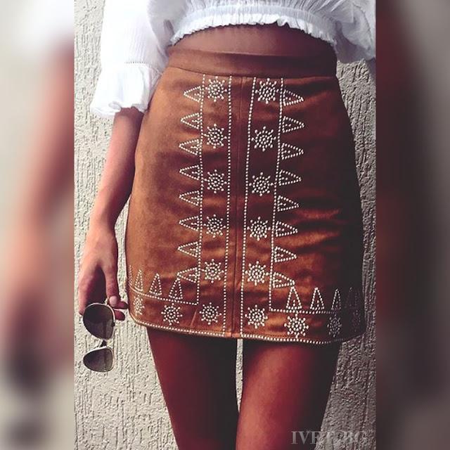 Ψηλόμεση μεσάτη κοντή καφέ φούστα MEREDITA