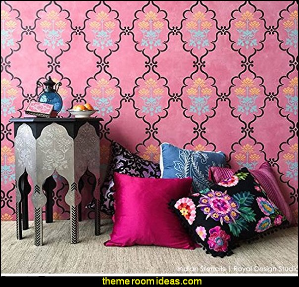 Raj Trellis Boho Chic Decor Wall Stencil for Painting Indian Style Wallpaper Design