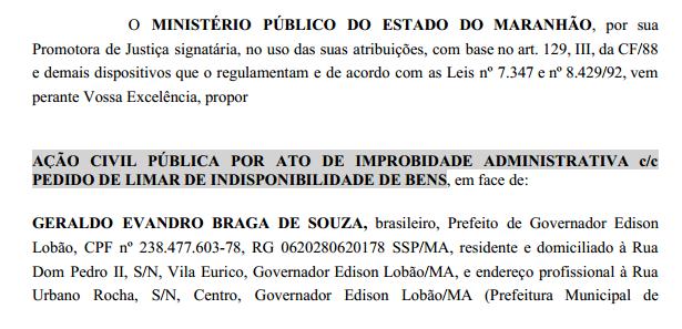 BOMBA! BOMBA! Ministério Público quer indisponibilidade dos bens do Prefeito Geraldo Braga e do Secretário Jonas Santos Cirilo!!!