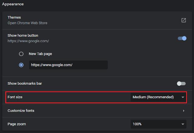 Cara Mengubah Ukuran Teks Default Google Chrome