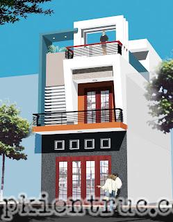 Mẫu nhà phố đẹp mặt tiền 5 mét hai tầng