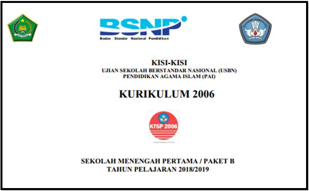 Download Kisi-Kisi USBN PAI SMP/Paket B Kurikulum KTSP   Tahun 2019