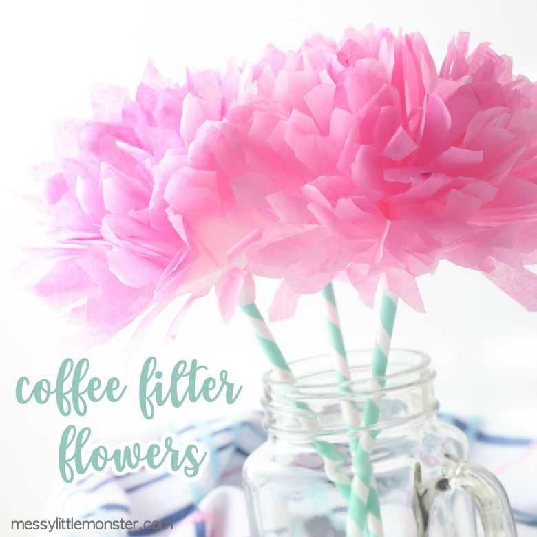 Spring crafts for kids - coffee filter flowers