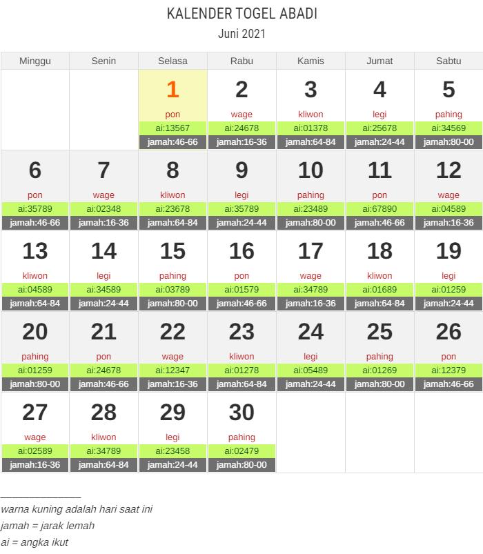 kalender togel juni 2021