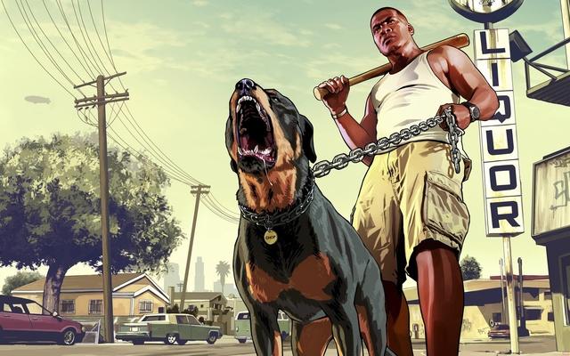Franklin do GTA 5 com seu cachorro Chopp