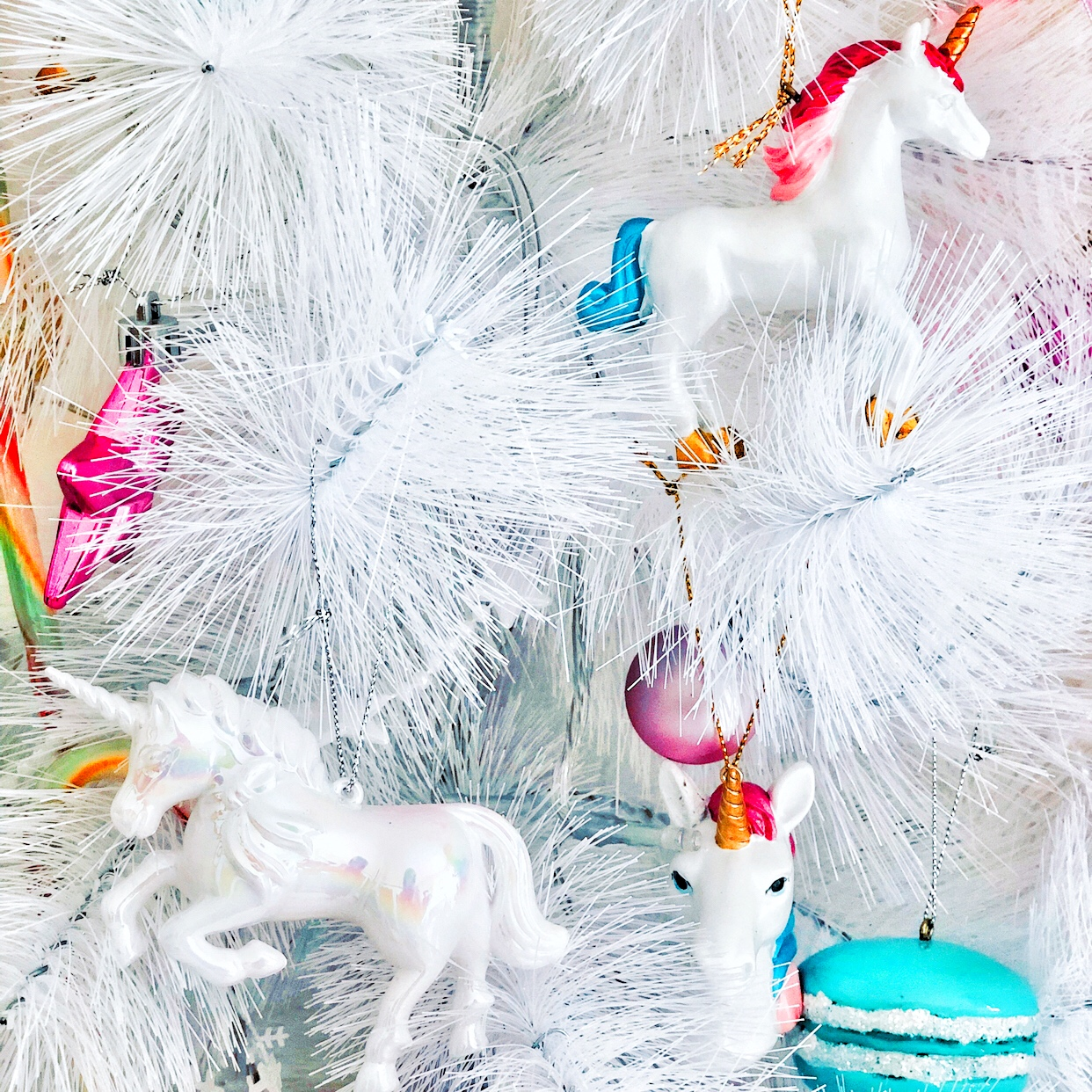 Kawaii White Christmas with magical Unicorn baubles