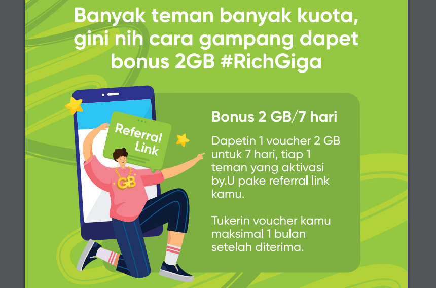 Geratis quota 2GB RichGiga by.U Telkomsel
