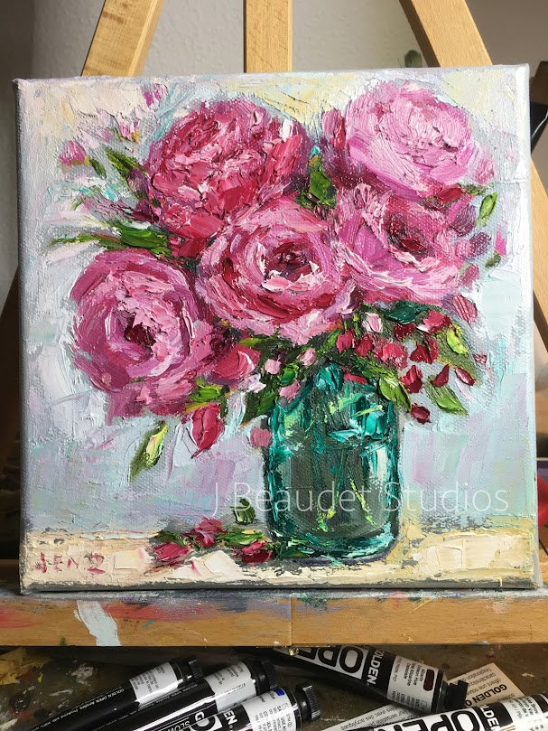 loose palette knife painting pink peonies beaudet zondervan