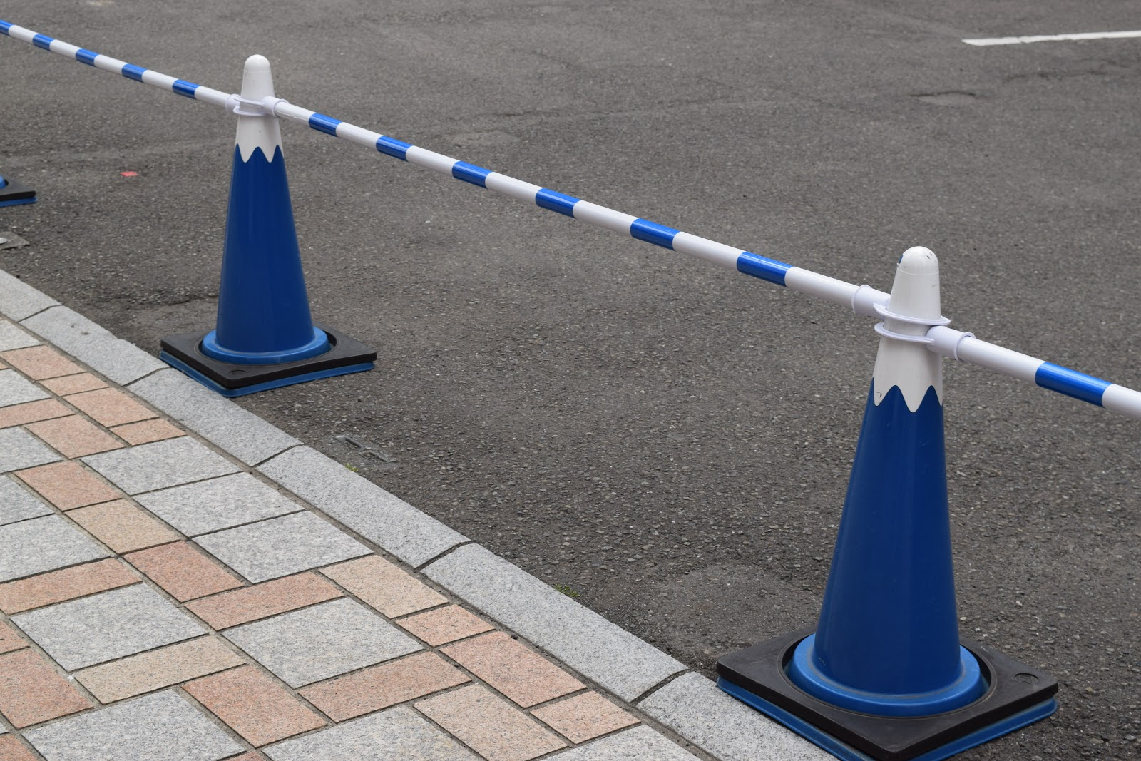 Traffic cones coloured to look like Mount Fuji- the best thing about Shizuoka city tbh