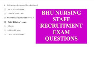 BHU staff nurse Nursing Officer recruitment exam model question answers