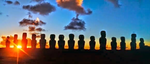 A row of stone statues known as Moai, Easter Island