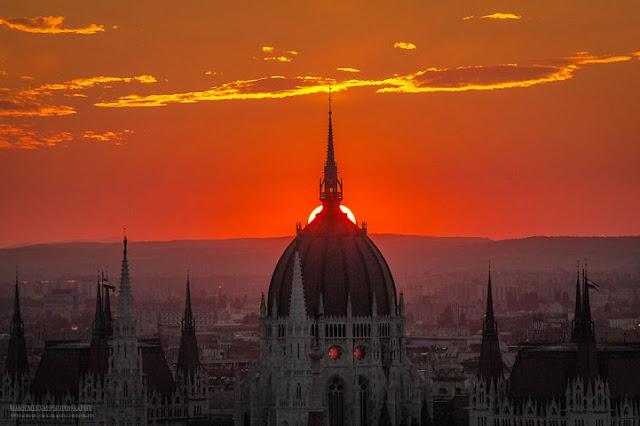 Espetaculares fotografias do amanhecer e entardecer do  horizonte do Budapeste