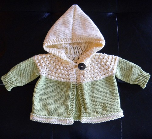 One Skein Hooded Baby Sweater - Free Pattern