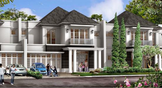 tampak depan rumah minimalis ukuran 12x25 meter 5 kamar tidur 2 lantai