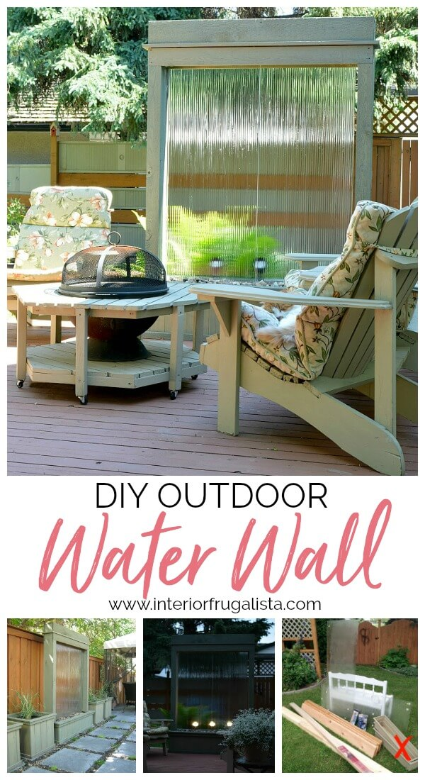 This stunning DIY Water Wall built for under $300 is the perfect backyard water feature for deck or patio with the relaxing sound of trickling water.
