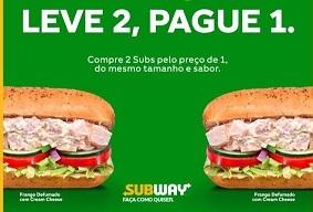 Promoção Subway Hoje 06/09/2019 Leve 2 Pague 1