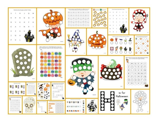 Fun classroom dot activities using these free halloween printables