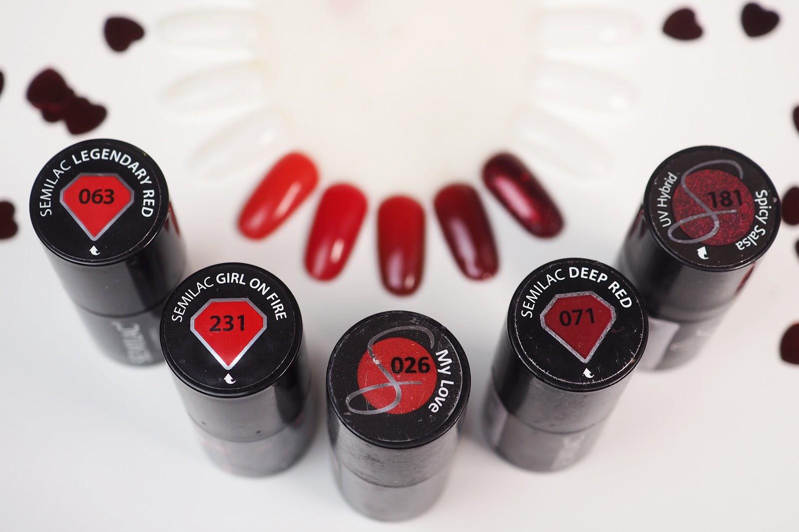 semilac czerwone paznokcie