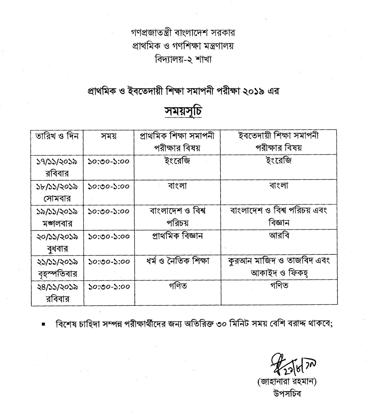 Primary and Ebtedayee Examination Routine 2019