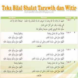 teks bacaan bilal sholat tarawih dan witir