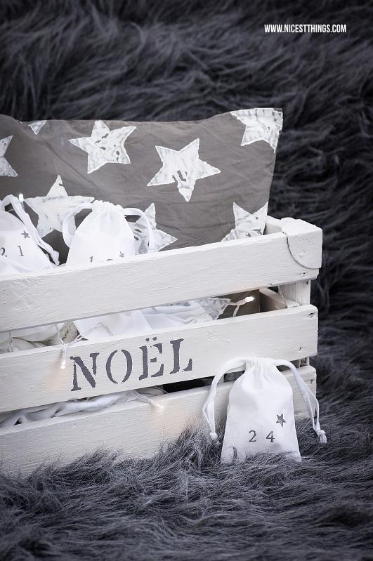 DIY Adventskalender: Holzkiste mit Säckchen