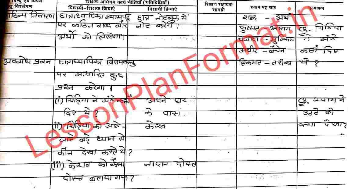 Class 7 Hindi Lesson Plan