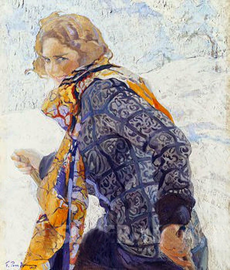 Mujer en la Nieve, Inquietud, Francisco Pons Arnau, Pintor español, Pintor Valenciano, Pintura Valenciana, Impresionismo Valenciano, Pintor Pons Arnau, Retratos de Pons Arnau