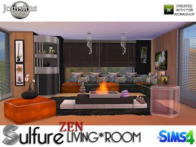 Sulfure zen living room Сера дзен гостиная для The Sims 4 Гостиная Sulfure Zen расслабляющий, но современный уголок. Мебель в стиле 1970 года. В 6 разных цветах. -1 диван. для создания угла код не требуется. Сиденья достаточно широкие, если у ваших симов очень мускулистые ноги. Это может слегка потереть край. -1 дивае. для создания угла код не требуется. -1 каминный журнальный столик. Используйте bb.moveobjects. Поместить центр вашей комнаты. -1 кадр картины дзен стол. 3 стиля, категория беспорядка. -1 роспись стен 3 стиля. -1 еще картины для стен 4 стиля и более крупные. категория настенные росписи -1 мебель для уголка 4 цвета и вариация металл Категория Разное Поверхность. -4 подушки для сидений, вариация 5 разных цветов. -1 прозрачный конец стеклянного блока, 6 цветов. -1 металлический потолочный светильник. Автор: jomsims