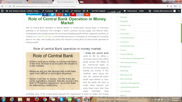 Role of Central Bank Operation in Money Market