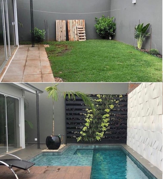 small house design with swimming pool and garden
