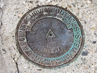 Survey marker near high point 7910 east of Waterman Mountain summit