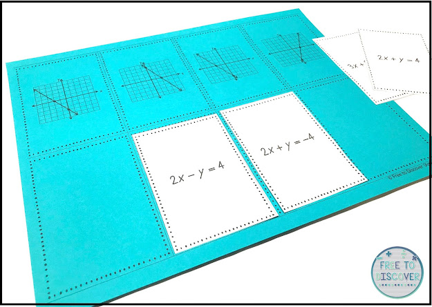 cut and paste matching graphs and standard form linear equations