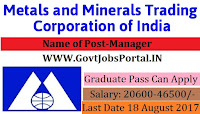 Metals and Minerals Trading Corporation Recruitment 2017-Manager