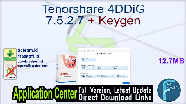 Tenorshare 4DDiG 7.5.2.7 + Keygen_ ZcTeam