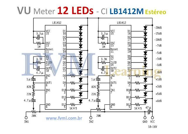 VU Meter 12 LEDs com CI LB1412 - Bargraph