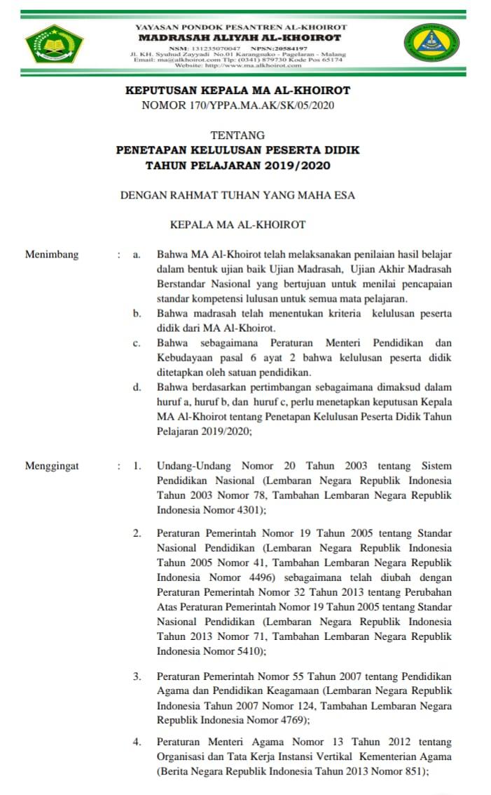 PENETAPAN KELULUSAN PESERTA DIDIK TAHUN PELAJARAN 2019/2020