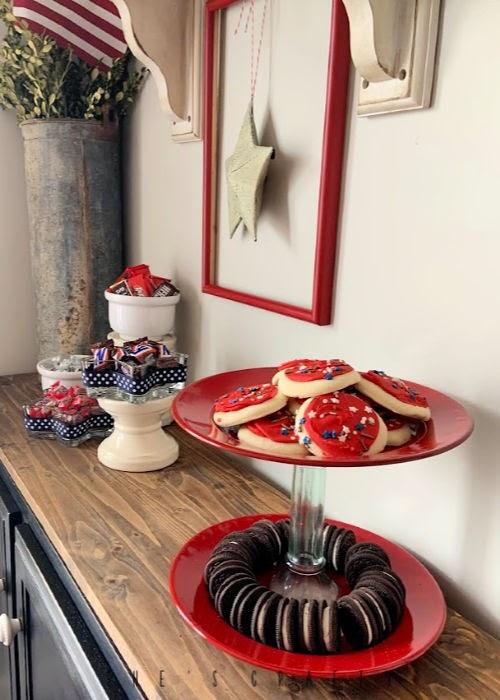 July 4th Dessert Bar - DIY candy dish from star glass bowls, DIY dessert stand