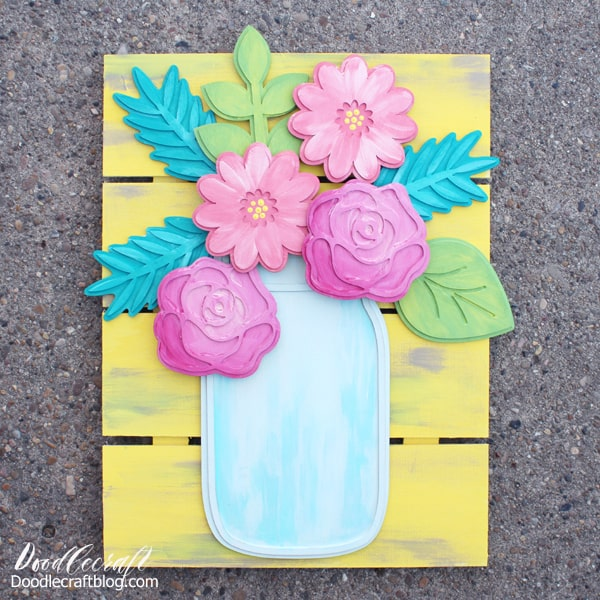 Spring bouquet wooden slat sign painted with plaid cut out pieces and acrylic craft paint in bright colors