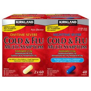 Viên Uống Cảm Cúm Kirkland Cold Flu Multi Symptom Hàng Xách Tay Từ Mỹ